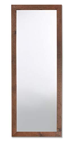 MO.WA Espejo con Marco de Madera Abeto Envejecido Acabado Nogal Oscuro Wengué cm. 56 x 148 Made in Italy
