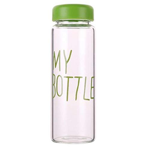 Vkospy 420ml transparente Wasser Cup Students Student Sommer Buchstaben Muster Letters Muster-Sommer-Flasche mit nach Hause im Freien beweglichen Cup Grün