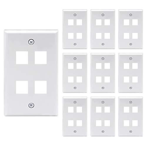 VCE 10 Pack 4-Port Keystone Wall Plate Keystone Jack Modular Inserts- White UL Listed