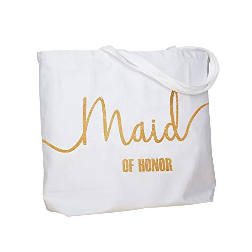 ElegantPark Maid of Honor Jumbo Tote Bag Wedding Bridesmaid Gifts White with Gold Glitter 100% Cotton Canvas Interior Pocket