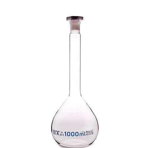 CHENTAOMAYAN Botella volumétrica 1000ml Laboratorio matraz volumétrico Claro Vidrio borosilicato con el plástico Oficina tapón Laboratorio de Química Claro cristalería Suministro (Size : 1000ml)