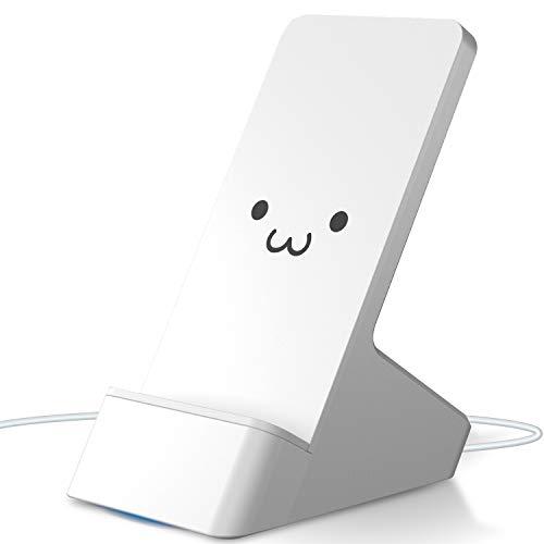 エレコム ワイヤレス充電器 Qi対応 スタンド型 卓上 【 Galaxy 10W 急速充電 (その他 5W) 】 コイル可動式 ホワイトフェイス EC-QS03WF