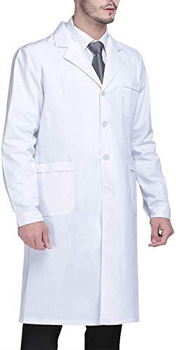 Beautyshow Weiß Laborkittel, Ärztemantel Damen Herren Laborkittel Baumwolle Langarm Weiß Arztkittel Arbeitskleidung Unisex Mantel Labormantel Schutzkleidung für Labor - XL