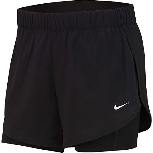 Nike Damen W NK FLX 2IN1 Woven Sport Shorts, Black/White, XL