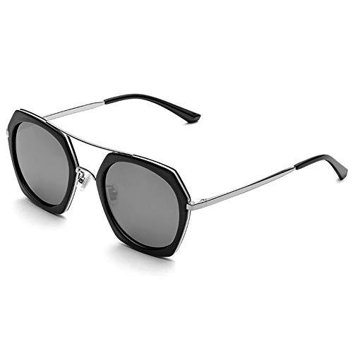 XINXD Gafas de Sol Polarizadas Metal Retro Mujeres Hombres para Conducir Viajes, Protección UV 400 Espejada, Rosa Negro