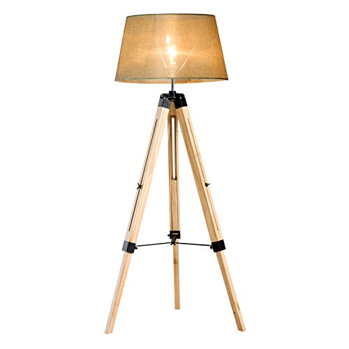HOMCOM Tripod Floor Lamp Wooden Adjustable Modern Illumination Design E27 Bulb Compatible (Cream Shade) 99-143H