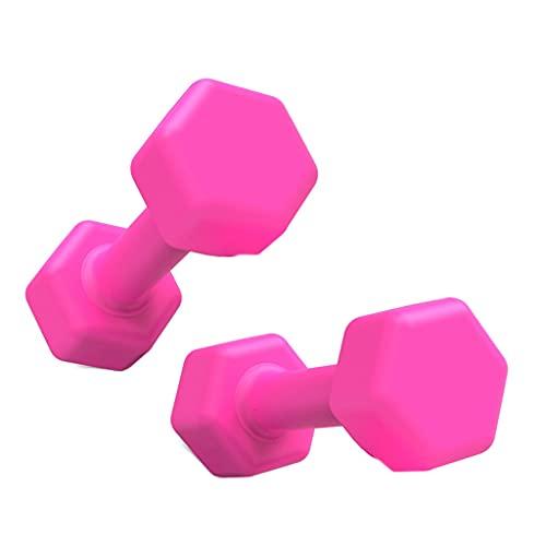 yjyxzy Mancuernas Pesas de Mano Pesas de Ejercicio Mancuernas para Mujeres Equipo de Entrenamiento de Yoga para el hogar Antideslizante hexagonales mancuerna (Color : Pink, Size : 1.5KGX2)