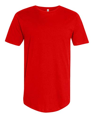 Curved Hem Bottom Longline Hipster Hip Hop Crewneck Casual Short Sleeve T-Shirt RED L