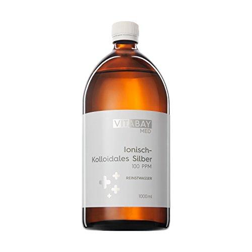 Vitabay Kolloidales Silber 100 PPM • 1000 ml • Hochdosiert • Reinheitsstufe 99,99% • Braunglasflasche