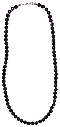 budawi® - Sugilith Kette Halskette Perlen mit 925er Silberverschluss, Sugilithkette 45 cm