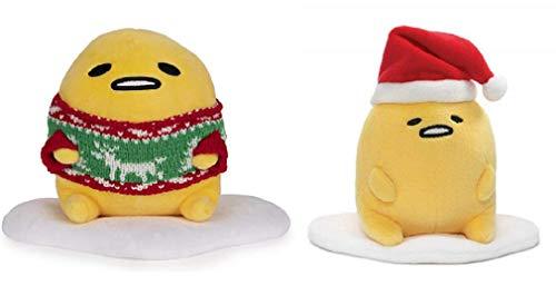DHE Lazy Egg Gudetama Christmas Holiday Plush Bundle of 2, Ugly Sweater and Santa