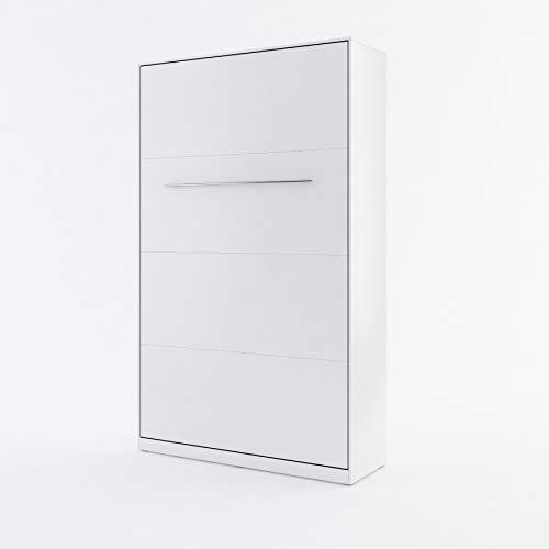 BIM Furniture Wandbett Vertical Schrankbett Concept PRO Wandklappbett, Schrankklappbett Wandbett, Schrank mit integriertem Klappbett, Funktionsbett (Weiß Matt, 120 x 200 cm)