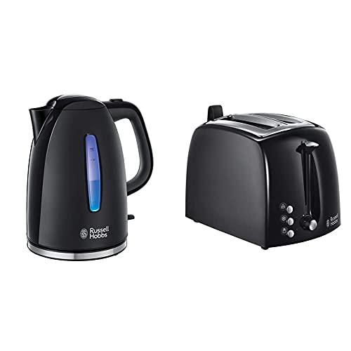 Russell Hobbs Set Petit Déjeuner Bouilloire et Grille Pain Toaster XL Texture Noir - 22591-70 et 22601-56