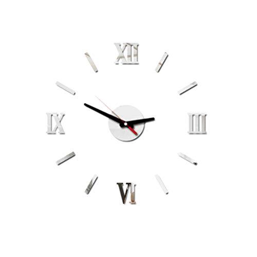VOSAREA Reloj de Pared Sin Marco Adhesivo DIY Acrílico Reloj de Pared Silencioso (Plata)
