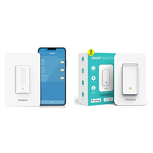 TESSAN Smart Switch Bundle, with Single-Pole Smart Dimmer Switch and 1 3-Way Smart On Off Switch
