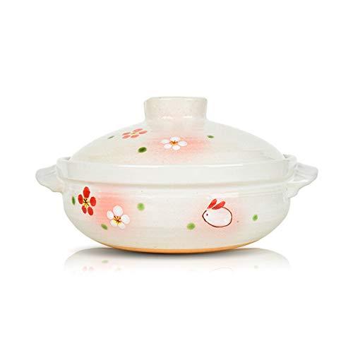 Casserole haute température Casserole en céramique Multifonctionnel,Commercial mignon dessin animé casserole en céramique pot de soupe argile résistant à la chaleur blanc glaçure peinture-3.0L