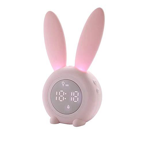 Reloj de Pared portátil con Forma de Conejo Lindo Reloj Despertador Digital con función de luz Nocturna de Sonido Led Relojes de Pared de Mesa para decoración del hogar