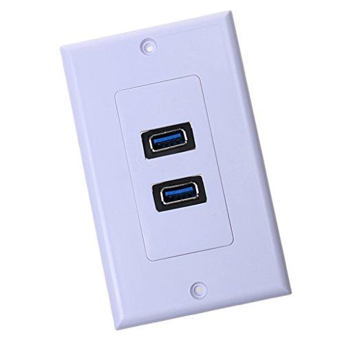 P Prettyia Panel de Placa de Salida del Receptáculo de Alimentación de CA del Cargador de Enchufe de Pared de Doble USB 3.0