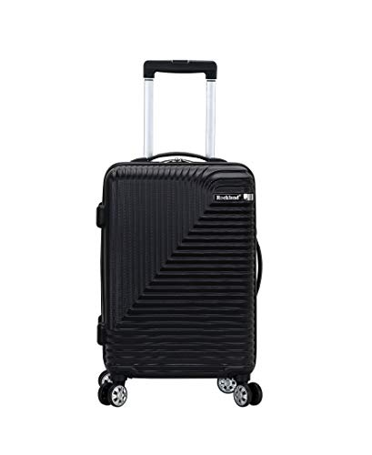 Rockland Star Trail Hardside Spinner Wheel Luggage, Black, Carry-On 20-Inch