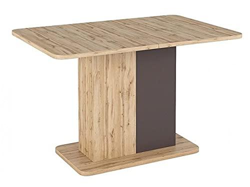 Mesa extensible de aglomerado, Next roble y marrón, 110 x 145 x 68 x 75 cm