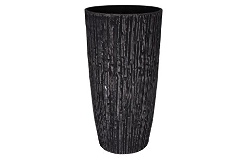 Cera-Mix Pot de Fleurs, Bac à Plante Caval, résistant au Gel et ultraléger, Noir, 36x70cm