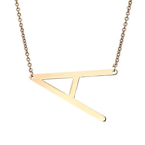 Rinhoo collar con cadena y pendiente de letra del alfabeto de A-Z hecho en acero inoxidable