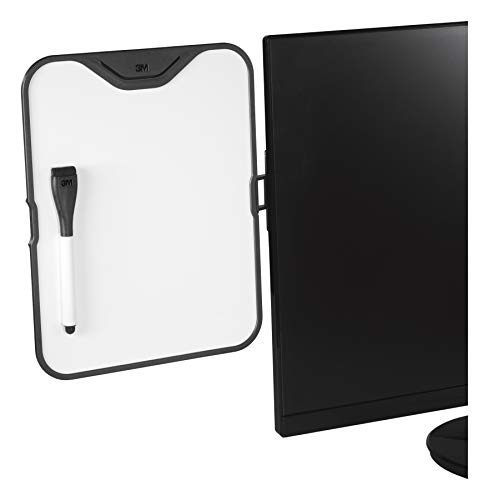 3M Computer Monitor Whiteboard, 8.5 in x 11 in, Detachable Panel with Magnetic Dry Erase Surface, To Do List, Document Holder, Command Adhesive included (MWB100B)