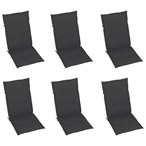vidaXL 6X Gartenstuhl Auflage für Hochlehner Kissen Sitzkissen Stuhlkissen Polster Stuhlauflage Sitzauflagen Sitzpolster Anthrazit 120x50x4cm