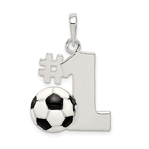 925 Sterling Silver Enameled Number One Soccer Pendant Charm Necklace Sport Fine Jewelry For Women Gifts For Her