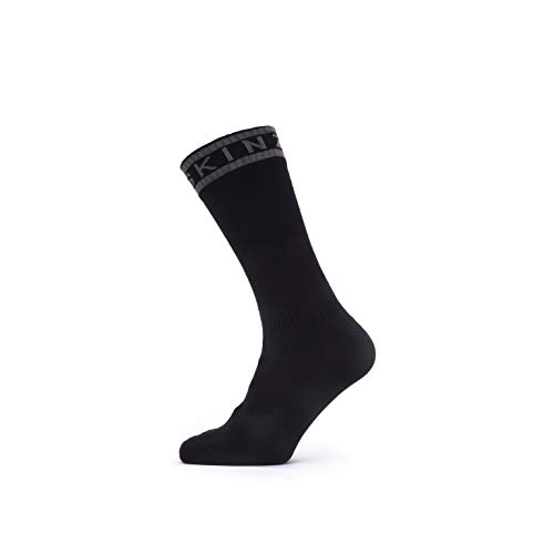 SealSkinz Unisex Waterproof Warm Weather Mid Length with Hydrostop Socken für Erwachsene, schwarz/grau, M