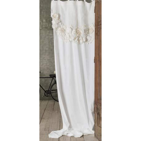 Blanc Mariclo - Rideau avec cantonniere et Fleurs Fiori Di Campo 127 x 290 cm