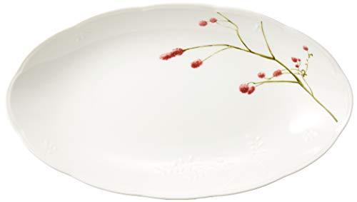 NARUMI(ナルミ) ペア オーバルボウル セット 里花暦(さとはなごよみ) 花柄 長径32cm 2個セット 電子レンジ温め対応 日本製 40912-33085