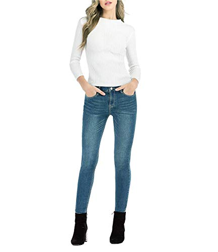 MetHera Women's Le Mel Classic Mid Rise Stretch Skinny Shaping Jegging Denim Jeans (12, Perfect Fade)