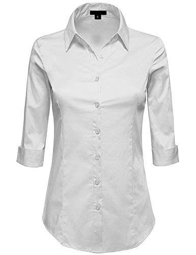 MAYSIX APPAREL Womens 3/4 Sleeve Stretchy Button Down Collar Office Formal Shirt Blouse White