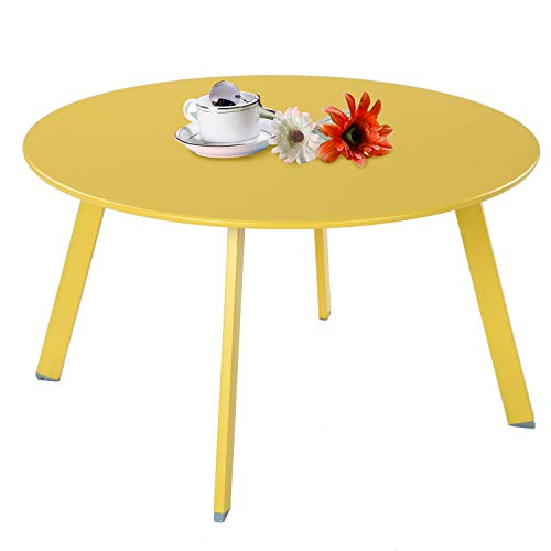 Grand Patio Round Steel Patio Coffee Table Weather Resistant Outdoor Large Side Table Yellow