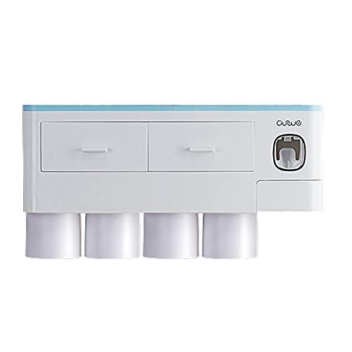 Qewrt Organizador montado en la Pared del ba?o Dispensador Multifuncional de Cepillo de Dientes y Pasta de Dientes 37 * 18.8 * 10 CM Azul