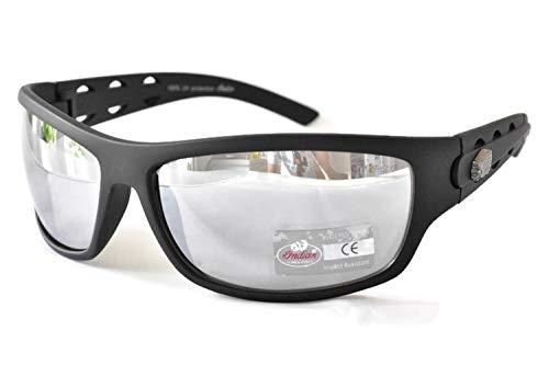 Gafas de sol indias motocicleta conducción gafas para hombres mujeres UV400 protección envolvente plata espejo resistente al impacto lente plástico