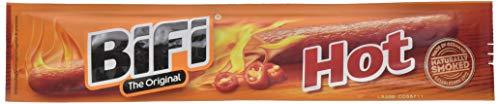 BiFi Hot – Würziger Salami Fleischsnack – Geräucherte & pikante Mini Wurst als Snack to go – 40er Box (40 x 25 g)