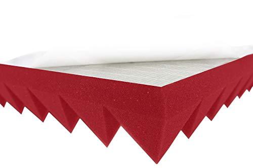 Pyramiden Schaumstoff Color Noppen Akustikschaumstoff Raum Akustik Schall Dämmung Schutz (Pyramide Rot Selbstklebend ca.49x49x5cm)