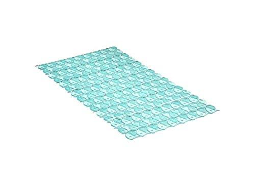 TATAY 5510203 - Alfombra antideslizante para ducha o bañera con diseño de peces, 70 x 36, turquesa translúcido