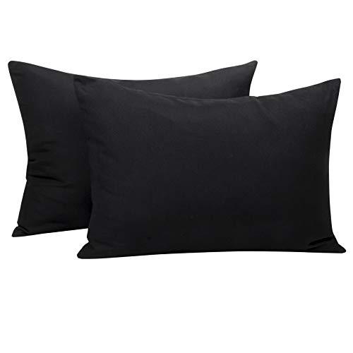 NTBAY Microfiber Toddler Pillowcases, 2 Pcs Zipper Closure Travel Pillow Covers, 13 x 18, Black