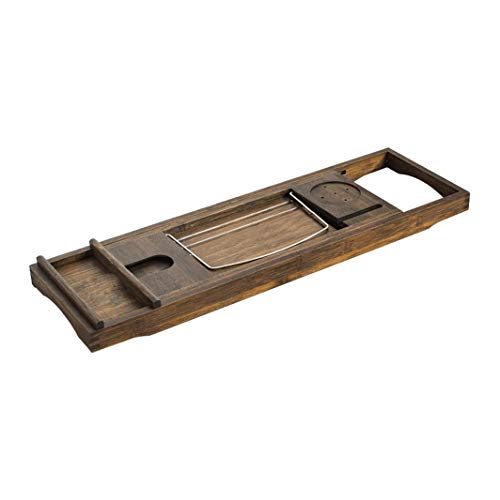 YANGYUAN Bathtub Caddy Tray with Wine Glass Holder - Adjustable Book Stand with Waterproof Extendable Non Slip Sides Removable Boards Bamboo Bath Organizer