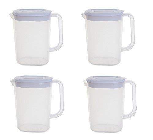 Set di 4caraffe Whitefurze multifunzione in plastica da 1.5litri con coperchio acqua cucina
