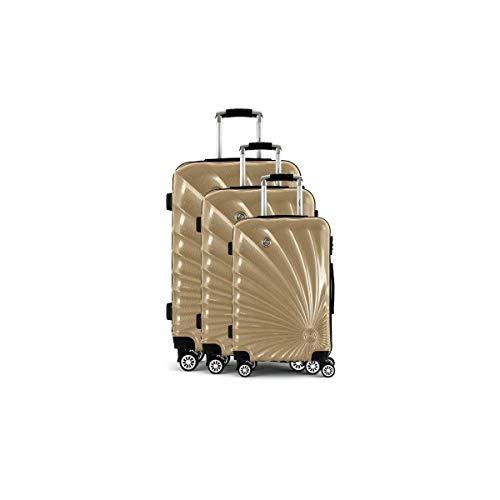 MANOUKIAN Set de 3 Valises Chariot Rigide ABS et PC 4 Roues 48-60-78cm MANOUKIAN 32 Champagne