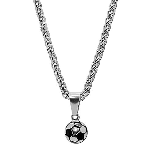 tumundo Edelstahl Gliederkette Panzerkette Halskette Fußball Ball Football WM Ketten-Anhänger Golden Silbern Fan Artikel, Variante:Silber
