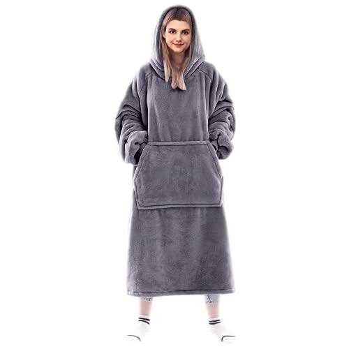 Lushforest Tragbare Decke Sweatshirt für Damen und Herren, super warm und gemütlich, große Decke Hoodie, Dicke Flanelldecke mit Ärmeln und riesiger Tasche (grau)