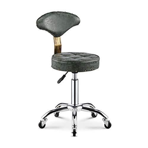 XJZHAN Sattel Beauty Salon Barhocker Faux PU Leder Mit Rückenlehne Swivel Hydraulic Gas Lift Chair,Color2