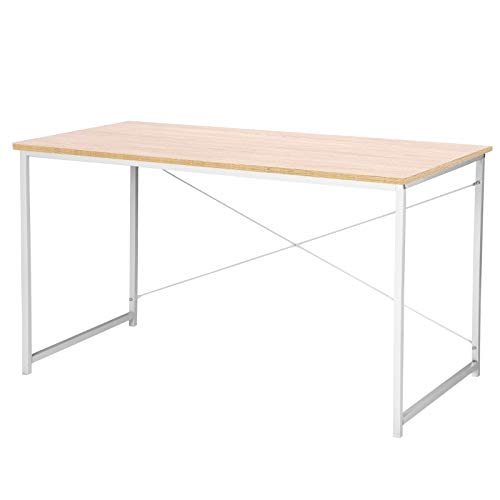 WOLTU TSB08hei Schreibtisch Computertisch Büromöbel PC Tisch Bürotisch Arbeitstisch aus Holz und Stahl, ca,120x60x70 cm, Hell Eiche+Weiß
