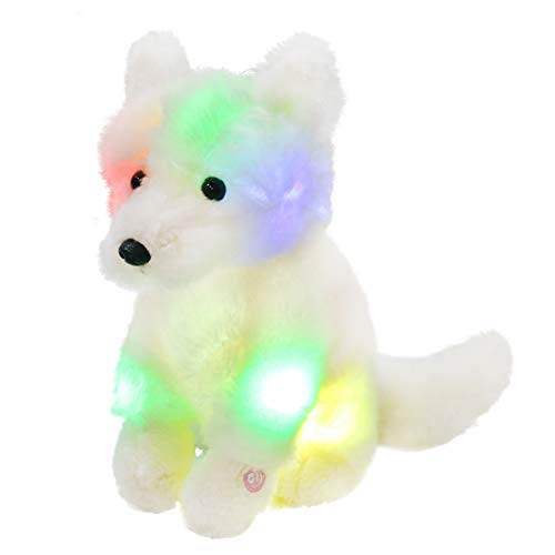 Bstaofy LED Wolf Stuffed Animal Light up White Plush Toys Soft Adorable Sitting Wildlife Nightlight for Kids Furry Fur Gift for Toddlers on Birthday Holiday, 10''