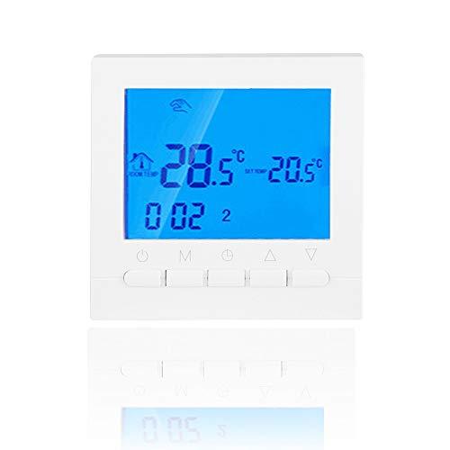 Denash Termostato Inteligente WiFi, Pantalla LCD Control de Aplicación Inalámbrica Programable Soporte de Termostato de Calefacción Función de Memoria para Hogar Inteligente Fácil de Instalar
